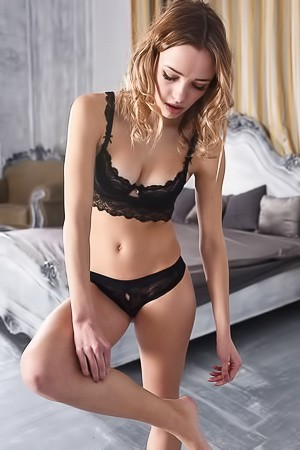 Hot Blonde Maxa Strips Black Lingerie