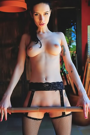 Slim Cutie Dita V In Black Stockings